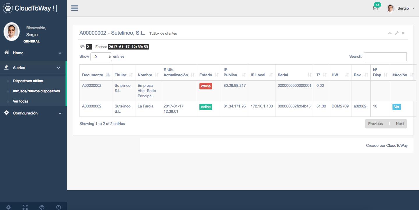 Detalle aplicación CloudToWay